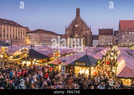Christmas Market , Christkindlesmarkt,  Xmas, Hauptplatz, Nuremberg , Frauenkirche, twilight,  Nürnberg, Franconia, - Stock Photo