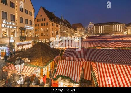 Christmas Market , Christkindlesmarkt,  Hauptplatz, Nuremberg , Nürnberg, Germany - Stock Photo