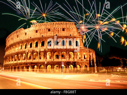 Italy, Rome,  Colloseum , fireworks, composing, new years eve, sylvester - Stock Photo