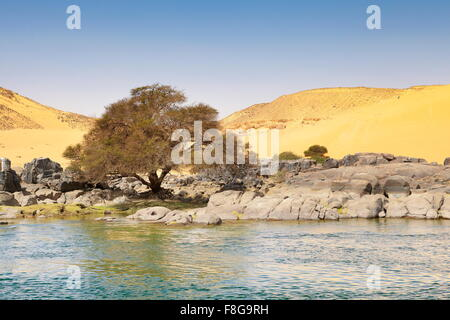 Egypt - bank of the Nile River, protected area of the First Cataract - Stock Photo