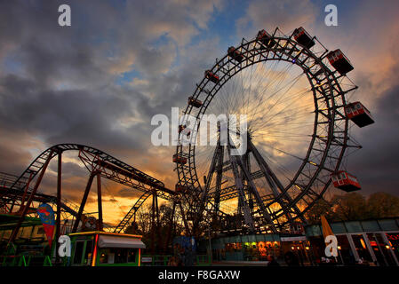 The famous 'Riesenrad' (remember 'The Third Man'?), the giant Ferris wheel at Prater park, Vienna, Austria. - Stock Photo