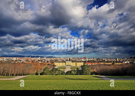 View of the Schönbrunn, summer palace of the Habsburgs and the city of Vienna from the Gloriette. - Stock Photo