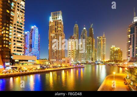 Dubai evening skyline - Marina, United Arab Emirates - Stock Photo