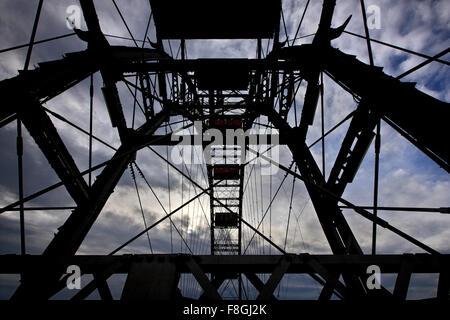 The famous 'Riesenrad' (remember 'The Third Man'?), the giant Ferris wheel at Prater park, Vienna, Austria. - Stock Photo