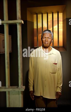 Nelson Mandela in Madame Tussauds waxworks museum, Prater park, Vienna - Stock Photo