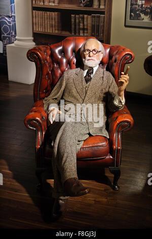 Sigmund Freud in Madame Tussauds waxworks museum, Prater park, Vienna - Stock Photo