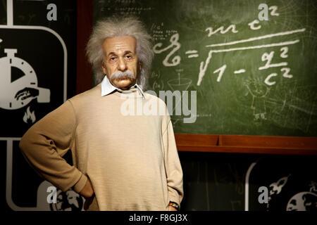 Albert Einstein in Madame Tussauds waxworks museum, Prater park, Vienna - Stock Photo