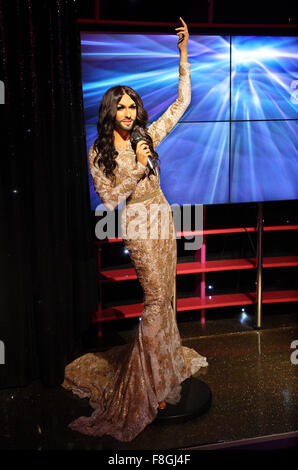Conchita Wurst (known as 'Conchita') winner of the Eurovision Song Contest 2014  in Madame Tussauds waxworks museum, - Stock Photo