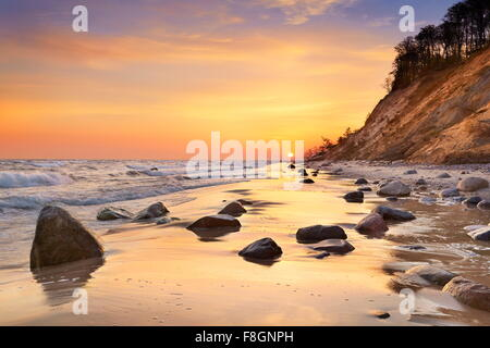 Wolin National Park, Baltic Sea at sunrise, Pomerania, Poland - Stock Photo