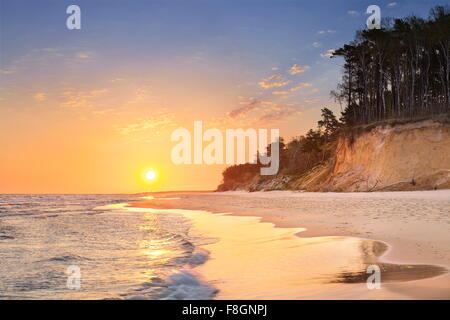 Wolin National Park, Baltic Sea landscape at sunrise, Poland - Stock Photo