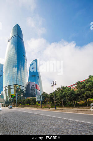 Baku - MARCH 10, 2014: Flame Towers on March 10 in Azerbaijan, Baku. Flame Towers are new skyscrapers in Baku - Stock Photo