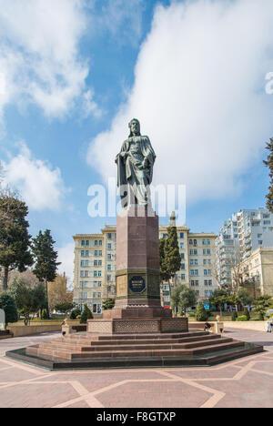 Nizami monument in Baku Azerbaijan - Stock Photo