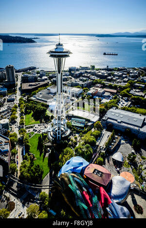 Aerial view of Space Needle in Seattle cityscape, Washington, United States - Stock Photo
