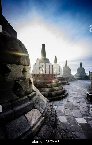 Monuments in Borobudur, Jawa Tengah, Indonesia - Stock Photo