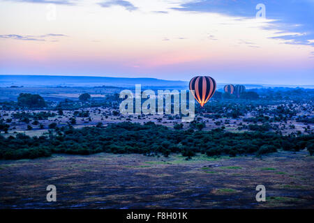 Hot air balloon flying over savanna landscape - Stock Photo