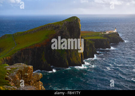 Aerial view of Neist Point cliffs, Isle of Skye, Scotland - Stock Photo