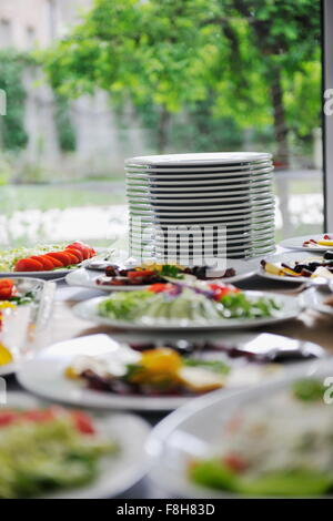 delicius catering food arrangement on party in restaurant - Stock Photo