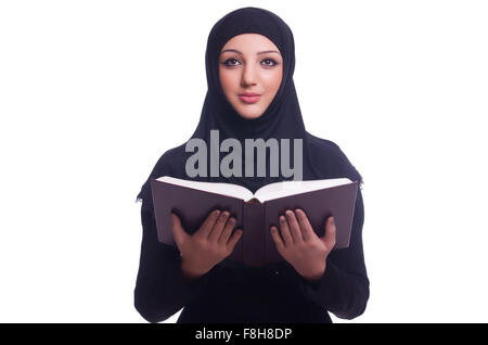Muslim young woman wearing hijab on white - Stock Photo