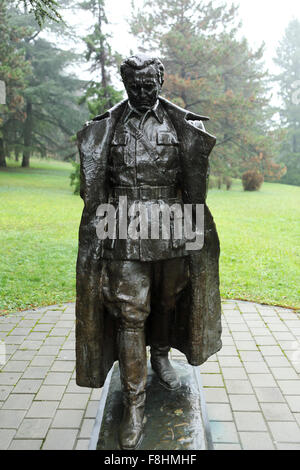 Sculpture of Josip Broz Tito outside of the House of Flowers in Belgrade, Serbia. Tito (1892-1980) was the leader - Stock Photo