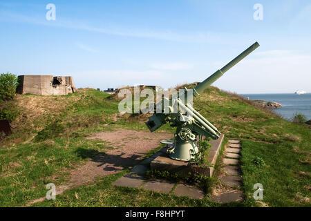 Anti-aircraft gun in the background of blue sea in Scandinavia - Stock Photo