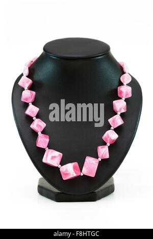 Necklace with many pink stones isolated on the white - Stock Photo
