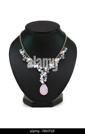 Necklace with many stones isolated on the white - Stock Photo