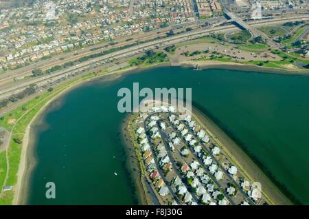 An aerial view of San Diego Mission Bay in southen California, United States of America. A view of the coastline, - Stock Photo