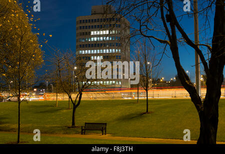 Eaton House from Greyfriars Green at dusk, Coventry, West Midlands, England, UK - Stock Photo