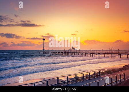 Brighton Jetty at sunset in a windy day, South Australia - Stock Photo