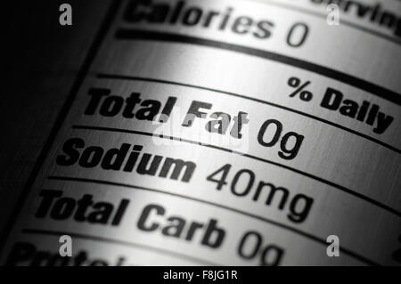 Nutrition ingredients label on a silver aluminum diet soda pop can - Stock Photo