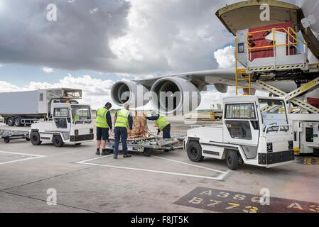 Ground crew loading freight onto A380 aircraft - Stock Photo