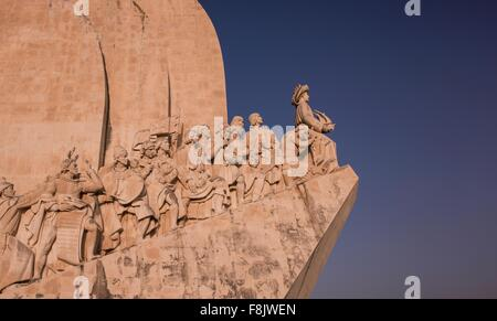 Side view of the Monument of Discoveries, Lisbon, Portugal - Stock Photo