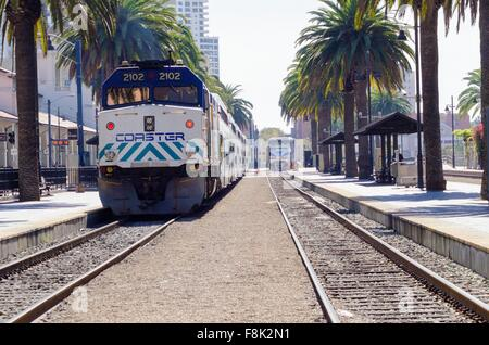 The Santa Fe Depot in Downtown San Diego, southern California, United States of America. A view of the Trolley and - Stock Photo