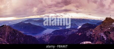 Panoramic view of Lake Lugano at dawn, Switzerland - Stock Photo
