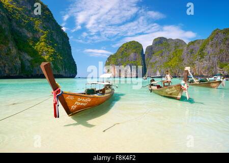 Thailand beach -Maya Bay on Phi Phi Leh Island, Andaman Sea - Stock Photo