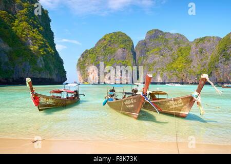 Thailand tropical beach, Maya Bay, Phi Phi Leh Island, Andaman Sea, Asia - Stock Photo