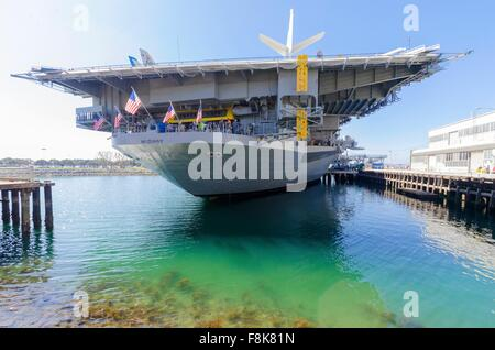 The historic aircraft carrier, USS Midway Museum moored in Broadway Pier in Downtown San Diego, Southern California, - Stock Photo