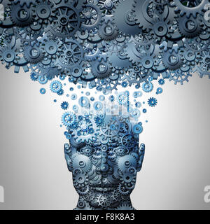 Upload your mind or uploading your brain concept as a human head made of mechanized gear and cog wheels being uploaded - Stock Photo