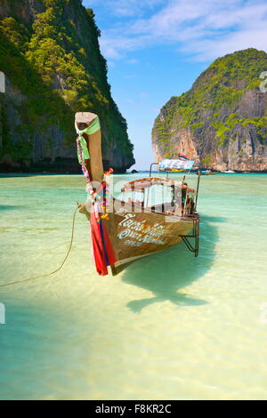 Thailand - Maya Bay Beach on Phi Phi Leh Island, Andaman Sea - Stock Photo