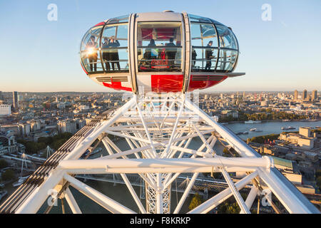 London Aerial of the City from London Eye in Westminster, London, England, UK with people in a capsule on the London - Stock Photo