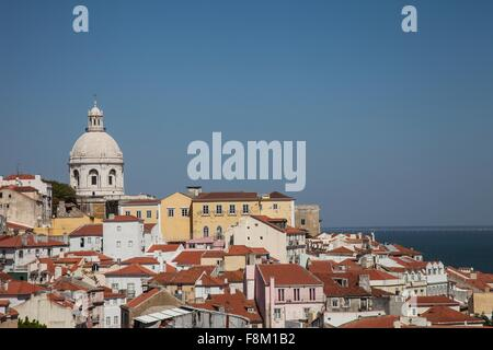 Hillside cityscape at coast, Lisbon, Portugal - Stock Photo