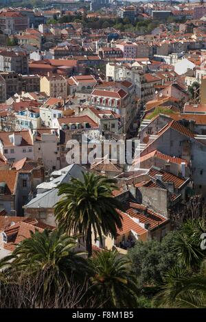 High angle rooftop cityscape, Lisbon, Portugal - Stock Photo