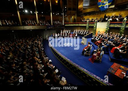 Stockholm. 10th Dec, 2015. Photo taken on Dec. 10, 2015 shows the Nobel Prize award ceremony at the Concert Hall - Stock Photo