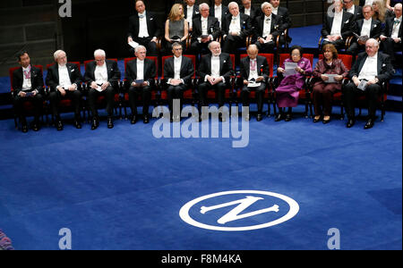 Stockholm, Sweden. 10th Dec, 2015. Nobel laureates attend the Nobel Prize award ceremony at the Concert Hall in - Stock Photo