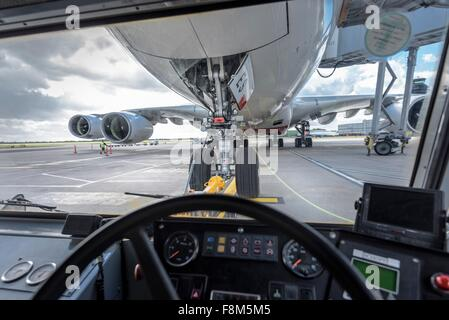 View of A380 aircraft from inside tug - Stock Photo