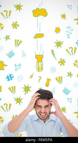 Composite image of stressed man looking at camera - Stock Photo