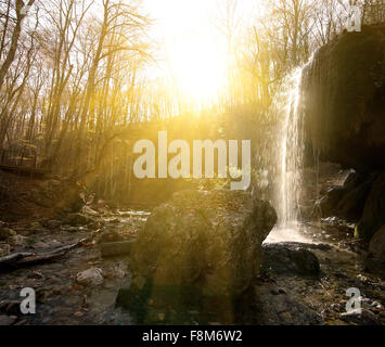 Waterfall in the wood at sunny morning - Stock Photo