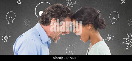 Composite image of angry business people shouting at each other over white background - Stock Photo