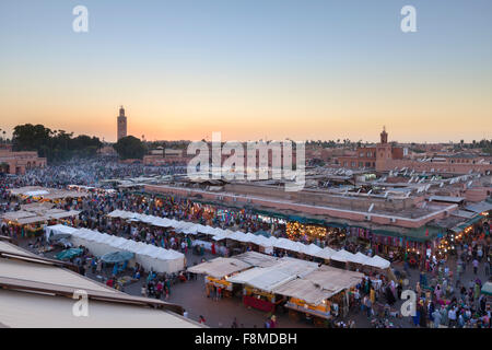 Djemaa el Fnaa square at dusk, Marrakech, Morocco - Stock Photo