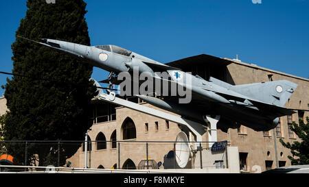 Monument to Israel Aircraft Industries F-21 Kfir, Haifa, Israel - Stock Photo
